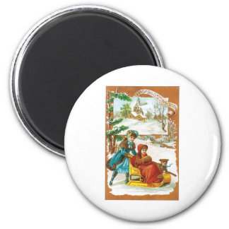 Christmas Dog and Sled 6 Cm Round Magnet