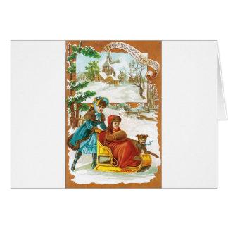 Christmas Dog and Sled Greeting Card
