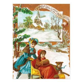 Christmas Dog and Sled Postcard