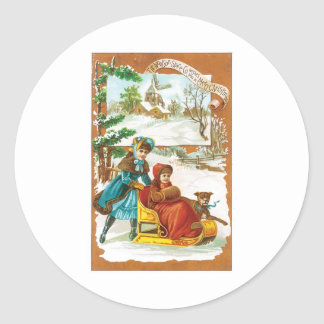 Christmas Dog and Sled Round Sticker