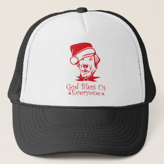 Christmas dog God bless us everyone Trucker Hat