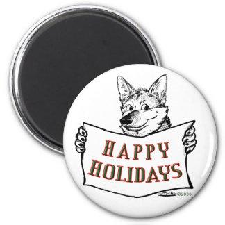 Christmas Dog:  Happy Holidays! Magnet