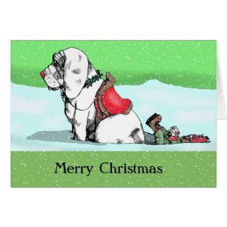 CHRISTMAS DOG IN SNOW by Slipperywindow Card