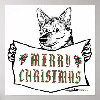 Christmas Dog:  Merry Christmas! Posters