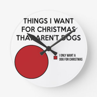 Christmas Dog Round Clock
