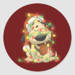 Christmas Dog Round Sticker