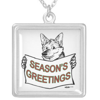 Christmas Dog:  Season's Greetings! Silver Plated Necklace