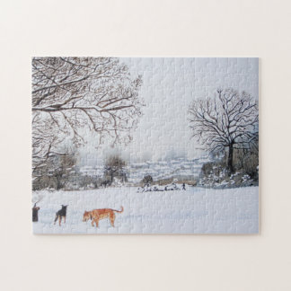 Christmas dog snow scene landscape realist art jigsaw puzzles