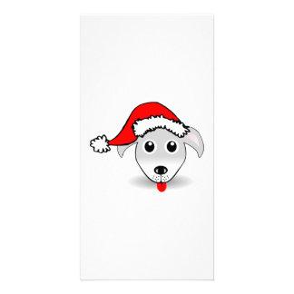 Christmas Dog Wearing Santa Hat Customized Photo Card