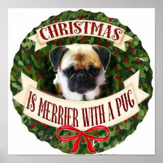 Christmas Dog Wreath. Personalized Pug dog breeds Poster