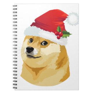 Christmas doge - santa doge - christmas dog notebook