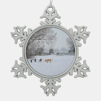 Christmas dogs snow scene landscape painting snowflake pewter christmas ornament