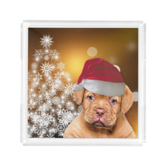 Christmas Dogue de Bordeaux acrylic serving tray