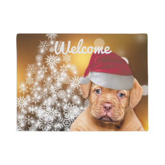 Christmas Dogue de Bordeaux doormat