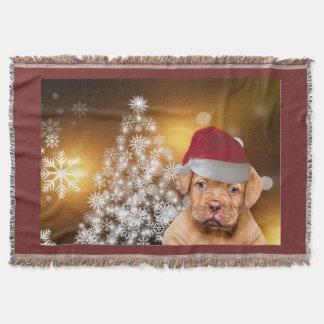 Christmas Dogue de Bordeaux throw blanket