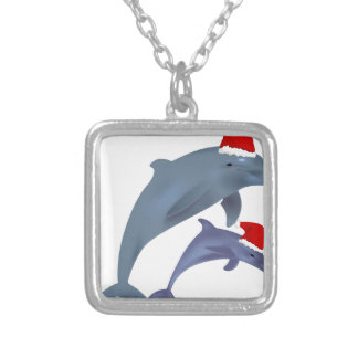 Christmas Dolphin Silver Plated Necklace