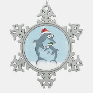 Christmas Dolphins Snowflake Pewter Christmas Ornament