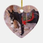 Christmas Donkey Double-Sided Heart Ceramic Christmas Ornament