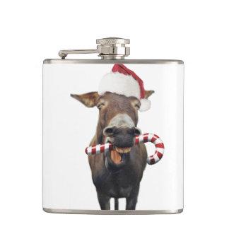 Christmas donkey - santa donkey - donkey santa hip flask