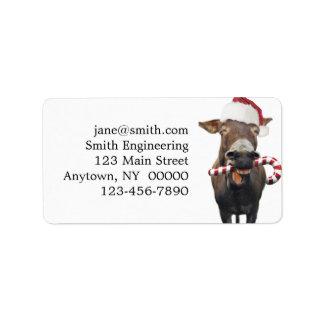 Christmas donkey - santa donkey - donkey santa label