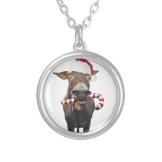 Christmas donkey - santa donkey - donkey santa silver plated necklace