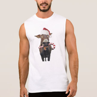 Christmas donkey - santa donkey - donkey santa sleeveless shirt