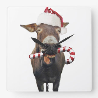 Christmas donkey - santa donkey - donkey santa square wall clock