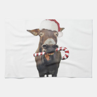 Christmas donkey - santa donkey - donkey santa tea towel