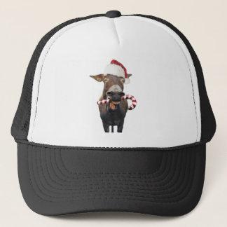 Christmas donkey - santa donkey - donkey santa trucker hat