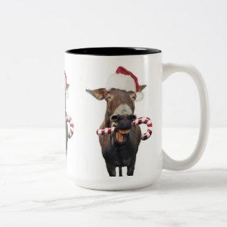 Christmas donkey - santa donkey - donkey santa Two-Tone coffee mug