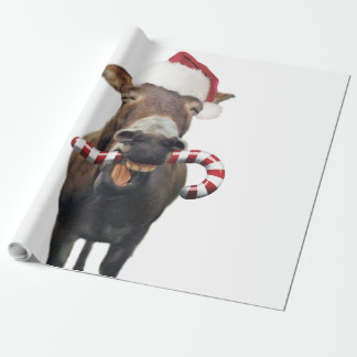Christmas donkey - santa donkey - donkey santa wrapping paper