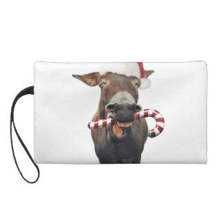 Christmas donkey - santa donkey - donkey santa wristlet