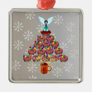 Christmas Donut Tree Metal Ornament