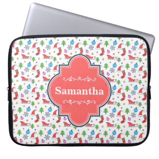 Christmas doodle elements pattern laptop sleeve