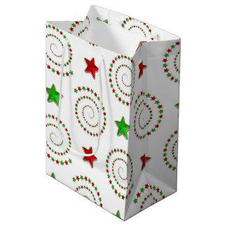 Christmas doodle pattern medium gift bag
