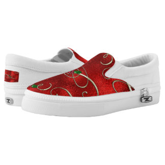 Christmas doodle pattern slip on shoes printed shoes