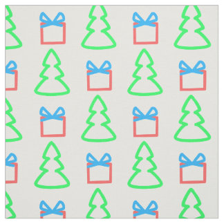 Christmas Doodle Trees and Gifts Pattern Fabric