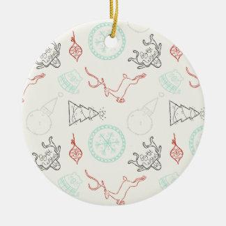 Christmas doodles deer snowflake pine trees patter round ceramic decoration