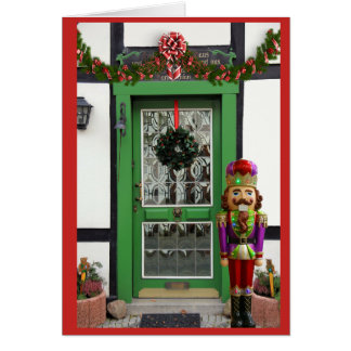 Christmas Door with nutcracker Frohliche Weihnacht Card