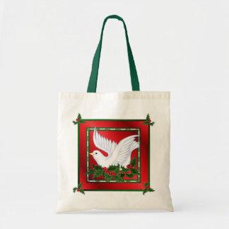 Christmas Dove & Holly Tote Bag