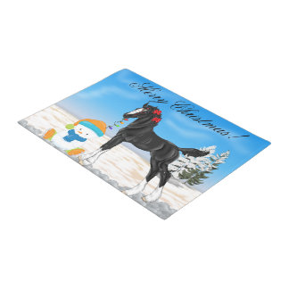 Christmas Draft Foal and Snowman Doormat