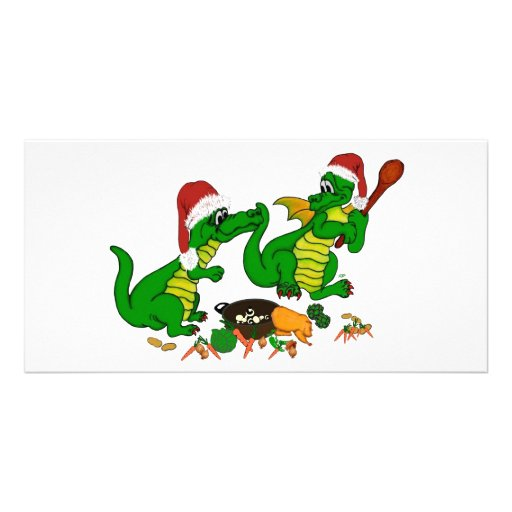Christmas Dragons - today I wants cook Picture Card