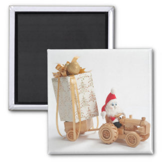 Christmas driver square magnet