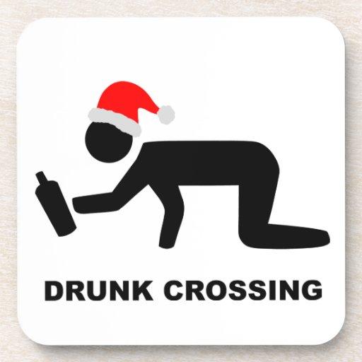 Christmas Drunk Crossing Sign Beverage Coaster