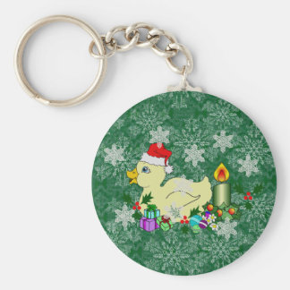 Christmas Duckie Basic Round Button Key Ring