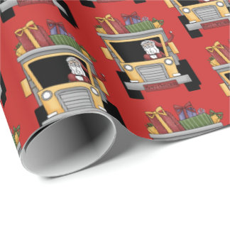 Christmas dump truck Santa party wrap tiled Wrapping Paper