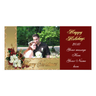 Christmas elegance gold photo card