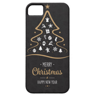 Christmas Elegant Premium Black Gold Barely There iPhone 5 Case