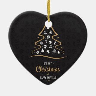 Christmas Elegant Premium Black Gold Ceramic Heart Decoration