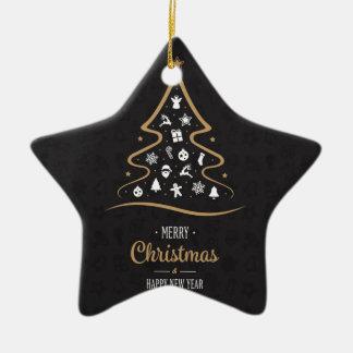 Christmas Elegant Premium Black Gold Ceramic Star Decoration